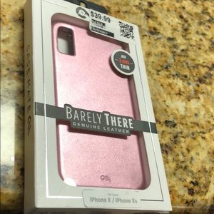 Pink leather phone case iPhone X